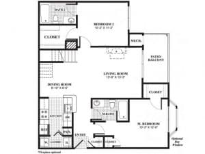 2 Bed / 2 Bath / 1,086 - 1,095 / Availability: Please Call / Deposit: $750 / Rent: $2,035